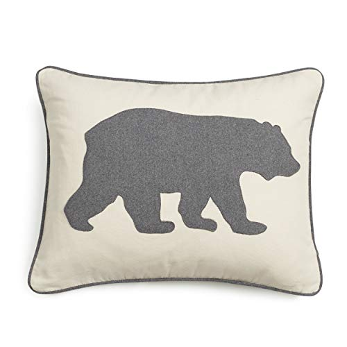 Eddie Bauer | Home Collection | 100% Cotton Twill Signature Bear Design Decorative Pillow, Zipper...