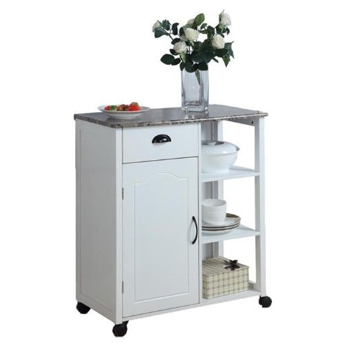 White Kitchen Island Storage Cart on Wheels with Granite Look Top- Portable, Great for a Small Kitchen! Portable Storage Cabinet by InRoom Designs