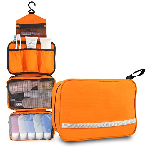 Relavel Travel Toiletry Bag Business Toiletries Bag for Men Shaving Kit Waterproof Compact Hanging Travel Cosmetic Pouch Case for Women (orange)