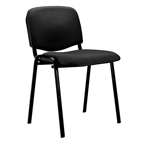 ISO, Pack 4 Sillas Confidente, Silla de Espera, Acabado en Tejido Negro, Medidas: 54 cm (Ancho) x 55 cm (Fondo) x 80 cm (Alto)
