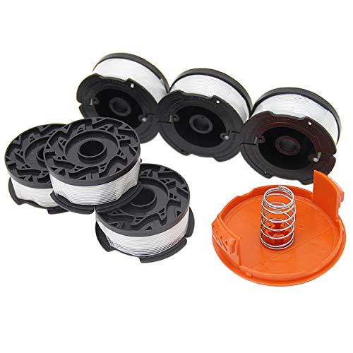 SWNKDG 6 Stücke Fadenspulen für Black und Decker Trimmer Rasentrimmer (Nylonfäden 9.1m Länge ⌀1,65mm mit Spulenabdeckung und Feder)