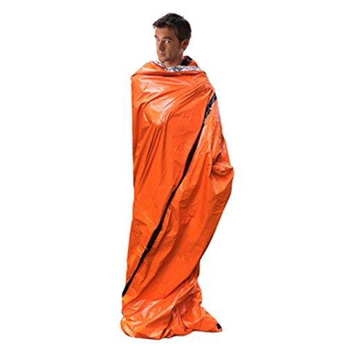 Fewear Emergency Sleeping Bag Thermal Waterproof for Outdoor Survival Camping Hiking, Sleeping Bag with Compression Sack,Portable Lightweight and Waterproof for Adults & Kids (Orange)