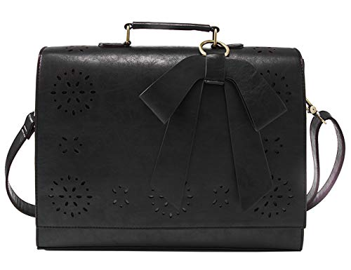 ECOSUSI Briefcase for Women Laptop Bag for School Briefcase Crossbody Messenger Bags Vegan Leather Satchel Purse Fit 14 Inches Laptop, Black