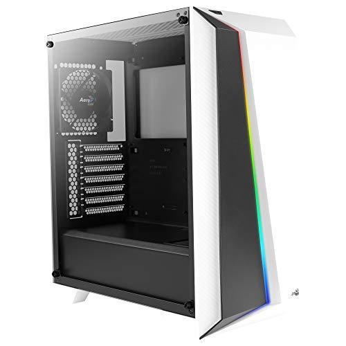Aerocool CYLONPROWG, ATX RGB PC-Gehäuse, Hartglas, 12 cm Lüfter, weiß