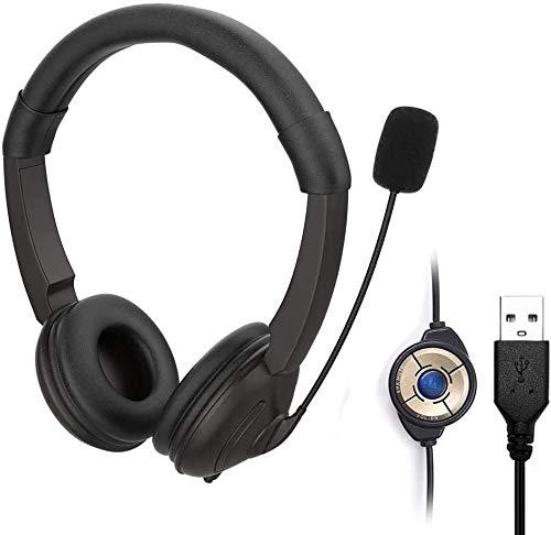 USB Cuffie per Computer con Microfono,Cuffie Cablate con Cancellazione del Rumore e Controllo del Volume,Auricolare Business Cuffie per Skype, SoftPhone, Call Center