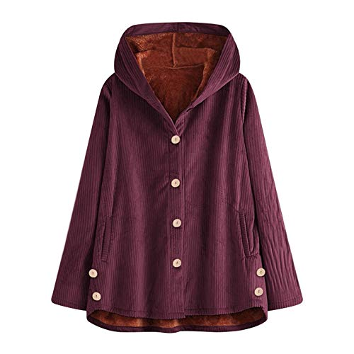 WYZTLNMA Women Winter Solid Coat Vintage Plus Size Loose Casual Jackets Plus Velvet Thick Warm Hooded Fashion Coat Outwear Purple