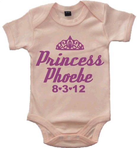 Edward Sinclair Body bébé 'Princess personnalisé avec nom de l'enfant et de la Date de Naissance' - Rose -