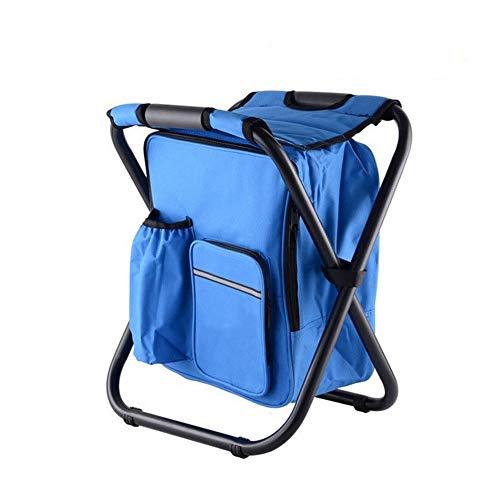 HYRL Multifonctionnel Sac à Dos Glace Sac Chaise, Pliant Portable Ice Pack Tabouret avec Isolation Thermique Sac randonnée Camping Pique-niquer Sac à Dos Tabouret,Blue