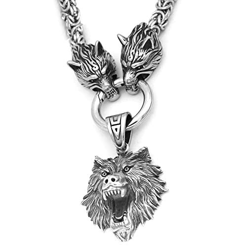 DFWY Nordic Viking Odin Wolf with Wolf Head Geri and Freki Necklace for Men,Heavy Stainless Steel Fenrir Wolf Head King Chain,Norse Pagan Amulet Scandinavian Jewelry (Size : 50CM)