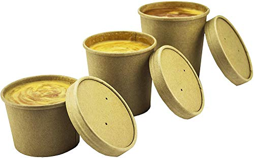 Pack de 25 envases de sopa desechables Kraft marrón con tapas
