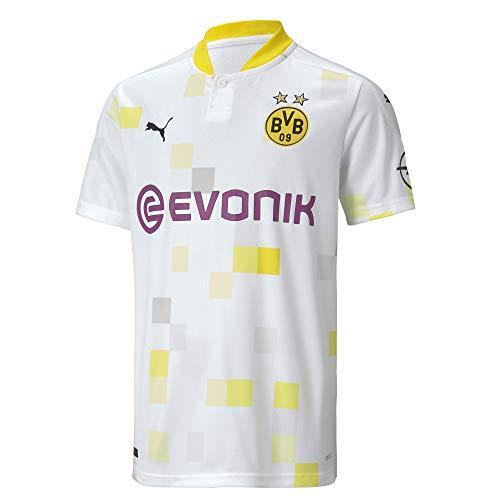 PUMA Jungen T-Shirt BVB Third Replica SS Jr w/Evonik w/o Opel, Puma White, 152, 757166