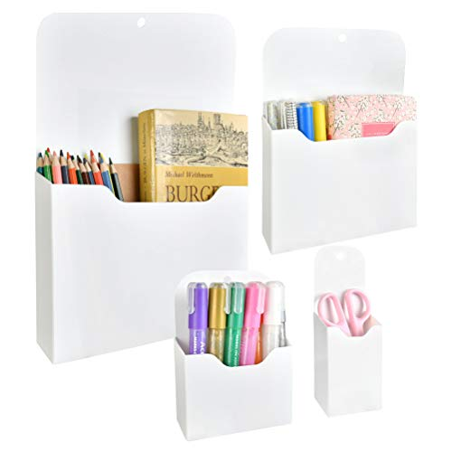 YANSHON 4 Pack Magnetic File Holder, Multiple Sizes Office Supplies Wall-Mounted File Organizer, Pocket Organizer for Notebooks, Planners, Letter, Office, Refrigerator, Locker (L, M, S, Ss)