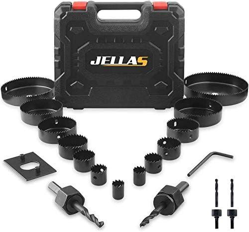 Hole Saw Set Jellas 19PCS Hole Saw Kit with 13Pcs Saw Blades Max Size 6 and Min Size 3 4 2 Mandrels product image