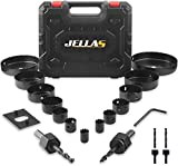 Hole Saw Set, Jellas 19PCS Hole Saw Kit with 13Pcs Saw Blades, Max Size 6' and Min Size 3/4', 2 Mandrels, 1 Installation Plate, Ideal for Soft Wood, PVC Board, Plastic, KJ01