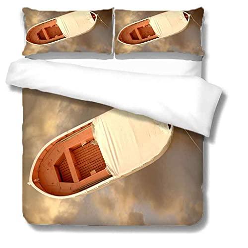 YJREDH Juego de sábanas cómodas y Suaves Juego de Ropa de Cama con Impresión de Barco de mar 240x220 poliéster antialérgico Anti decoloración impresión HD para Todo el Mundo