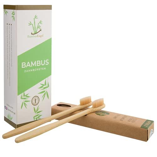 BambusEngel Juego de 2 cepillos de dientes de bambú suaves sin plástico | cepillos de dientes de madera con cerdas naturales | sin plástico sostenible