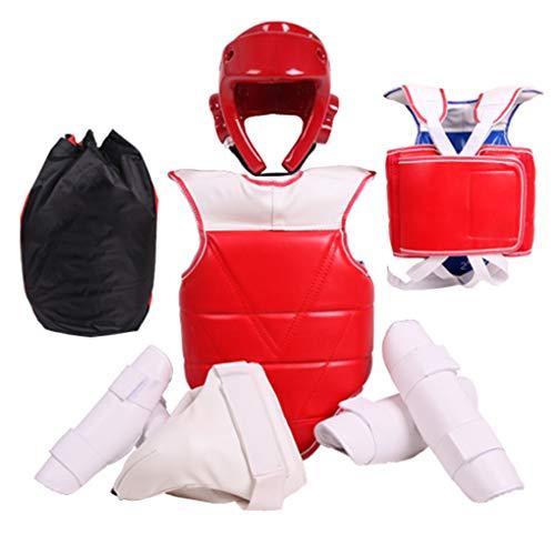 Équipement de protection pour le corps entier de taekwondo, respirant et confortable, épaississement double couche, équipement de protection de boxe pour enfants, ensemble de cinq pièces, sac à dos,S