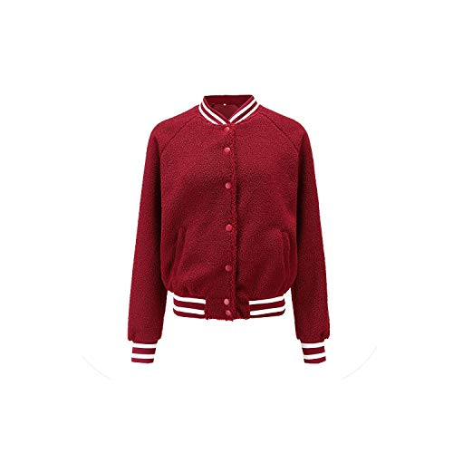 Feing Women's Jacket Donne Manica Lunga Baseball Giacca Rosso Bomber Giacca Casual Cappotto Outwear - Rosso - S