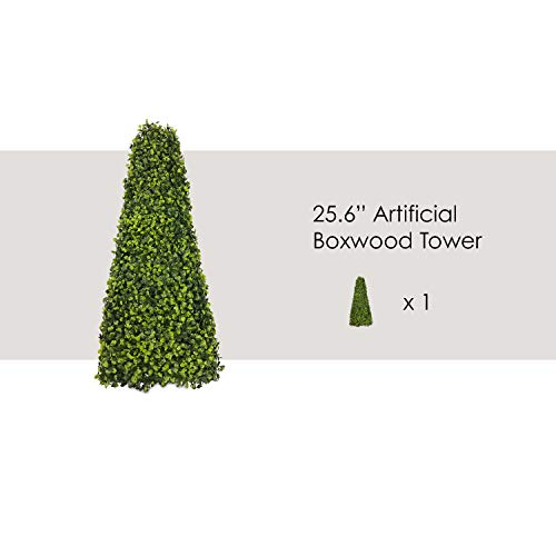 ECOOPTS Artificial Boxwood Trees Highly Realistic Decorative Buxus Tower, Topiary UV Resistant Fake Tree for Home Garden/Indoor & Outdoor Use 1 Pack