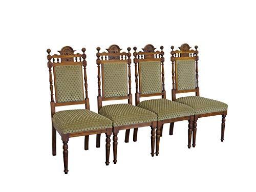 4 antike Stühle Gründerzeit um 1880 aus Buche mit grünem Polster   Lehnstühle Stuhlgruppe 4er Set  B: 44 cm (9725)