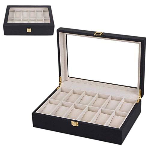 Detazhi - Custodia per orologio da uomo, in pelle, con 12 scomparti, con portafoglio, custodia per orologio, espositore da uomo, confezione regalo