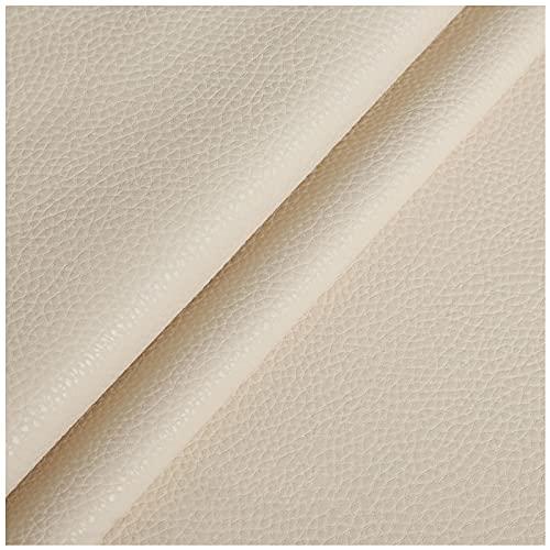NIUFHW Tela de cuero sintético beige para manualidades por la yarda artificial de cuero de la PU 1,38 m*1 m decoración sofá suave bolsa de tela DIY manualidades