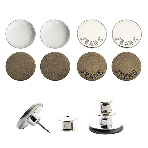Jeans Replacement Button Pins, [Minimalism Set-Mix of 8] Metal Pins for Quick Waist Adjustment on Pants, Reduce The Size of Pant Waist as Desirable in a Click of Finger; NO SEW Nail Free Option