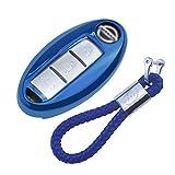 Funda de Silicona para Llave Nissan Keyless – Cover Carcasa de TPU Cromo Suave para Nissan Qashqai Juke X-Trail Micra Murano Protección Llaveros Mando a Distancia (Azul)