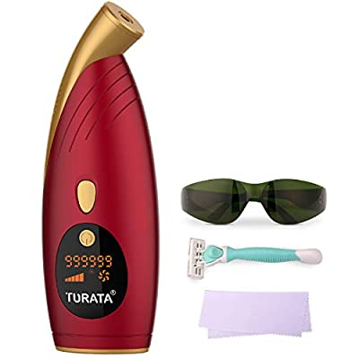 IPL Hair Removal, TURATA 999,999 Flashes Laser Hair Removal for Women Men, Permanent Painless Professional Home Use Hair Remover Device for Face, Arm, Legs, Armpit, Bikini Area, Body (UK Adapter)