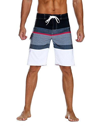 Nonwe Men's Sportwear Quick Dry Board Shorts with Lining White 40