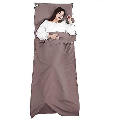 YuKeShop Bolsa de dormir suave de seda, transpirable, para viajes, para acampar, evitar la suciedad en el hotel de negocios, apto para mochileros, color marrón
