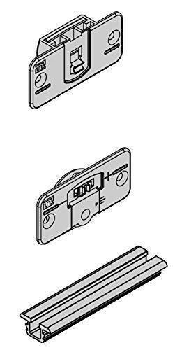 Gedotec meubel-schuifdeurbeslag set voor houten schuifdeuren | schuifdeursysteem complete set | aluminium zilver geanodiseerd | draagkracht 20 kg | lengte 2000 mm | 1 set met geleiderail & rail