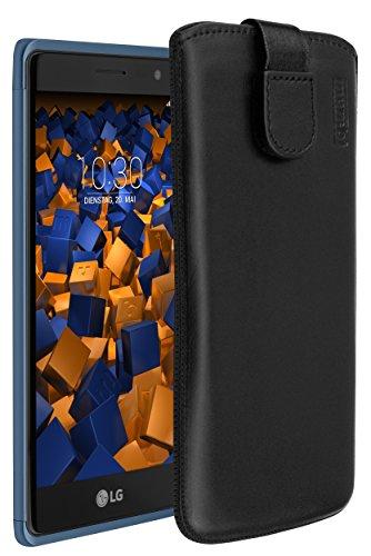 mumbi Echt Ledertasche kompatibel mit LG Class Hülle Leder Tasche Hülle Wallet, schwarz