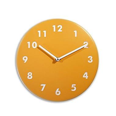 Silent wood wall clock (Golden yellow)