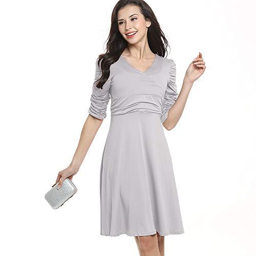 Damska dekolt Slim średniej długości Duża spódnica z plisowanymi długimi rękawami (Kolor : Szary, Rozmiar : XXL)
