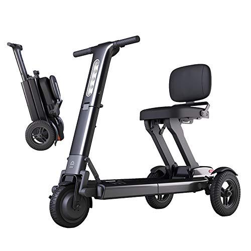 YF-Mirror Dispositivo de Silla de Ruedas móvil eléctrico para Adultos, Scooters de Ayuda a la Movilidad Ligeros motorizados Plegables, iluminación LED Brillante y Motor de Largo Alcance