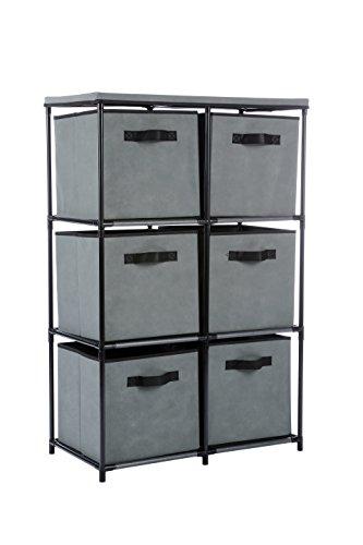 MULSH Storage Shelf Drawer Chest Organizer Units Storage Cabinet 6-Drawer Organizer with 6 Removable Non-Woven Fabric Bins in Grey,25' W x 13.19' D x38 H(WxDxH)
