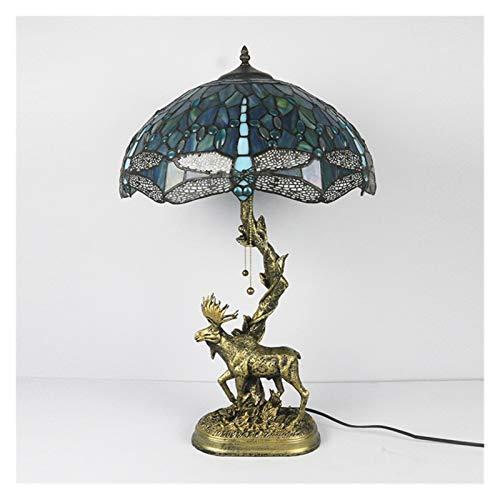 SCAYK La Nueva Sala de Estar de iluminación de Estilo Estadounidense Hall de Estudio Creativo Animal libélula lámpara de lámpara Base 16 Pulgadas lámparas para dormitorios lámpara de Noche