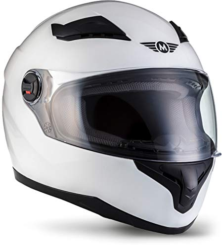 """MOTOHelmets® X86 """"Gloss White"""" · Integral-Helm · Full-Face Motorrad-Helm Roller-Helm Scooter-Helm · ECE Visier Schnellverschluss Tasche M (57-58cm)"""