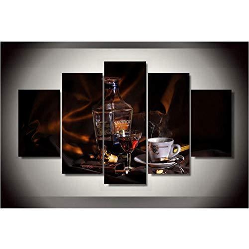 Lllyzz canvasdruk frame gedrukt 5 stuks schilderij muurkunst ruimtedecoratie poster canvas wijn koffie sigaar whisky druiven wijnglas afdrukken op canvas 150x80 cm