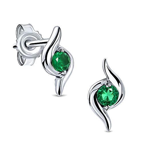 Miore Ohrringe Damen runde Ohrstecker mit Edelstein/Geburtsstein Smaragd in grün aus Weißgold 9 Karat / 375 Gold, Ohrschmuck