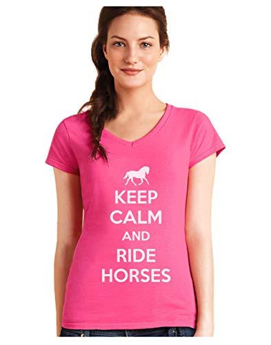 Green Turtle T-Shirts Camiseta de Cuello V para Mujer - Keep Calm and Ride Horses - Regalo Original para los Amantes de los Caballos y la Equitación Small Fucsia