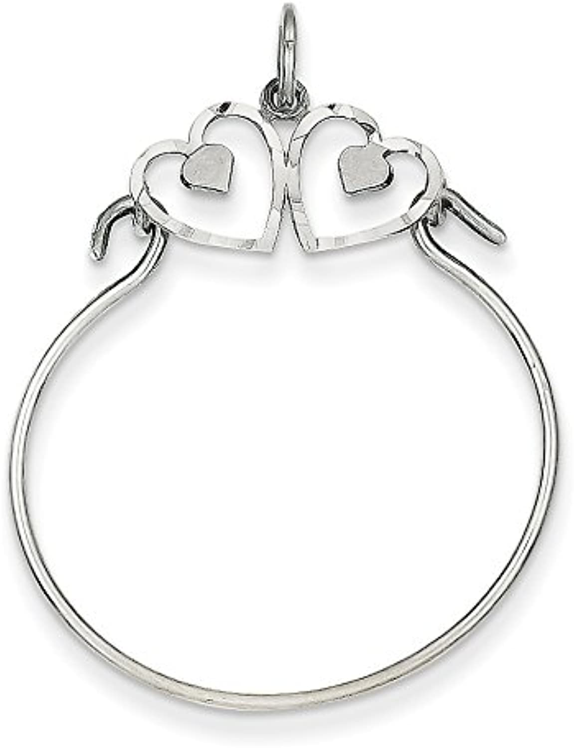 Diamond2Deal 14k White gold Heart Holder Pendant