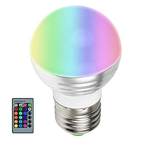 MENGS® Bombilla lámpara RGB LED 3 Watt E27, AC 85V-265V, RGB + Control Remoto IR