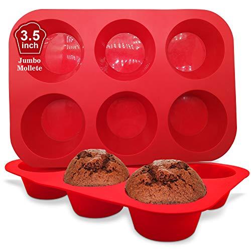 Walfos Grande Molde de Horno para Muffin Silicona - Grande 6 Cavidades Antiadherente Bandejas para Hornear Magdalenas para Muffin de Huevo, Magdalena Grande, Juego de 2