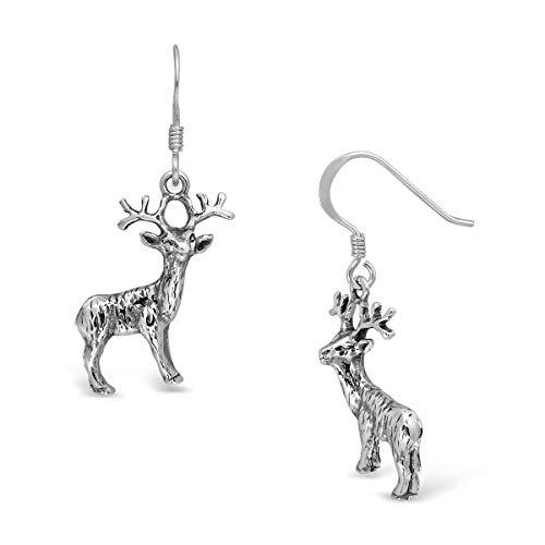 WithLoveSilver - Pendientes colgantes de plata de ley 925 con diseño de ciervo