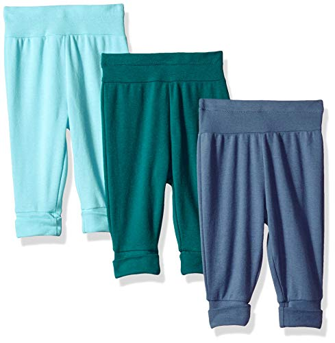 Hanes Ultimate Baby Flexy 3 Pack Adjustable Fit Knit Jogger Pants, Blues