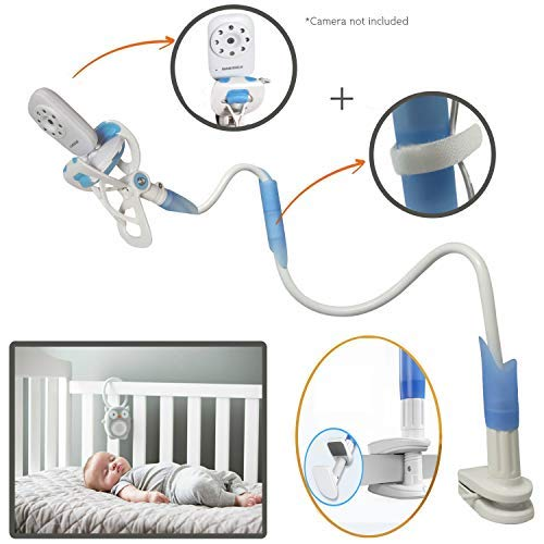 Baby Monitor Mount, Baby Monitor Holder and Shelf, Compatible with Most Baby Monitors, 2-in-1 Flexible Nursery Camera Stand & Lazy Phone Holder Clip for Bed, Desk, Office, Kitchen