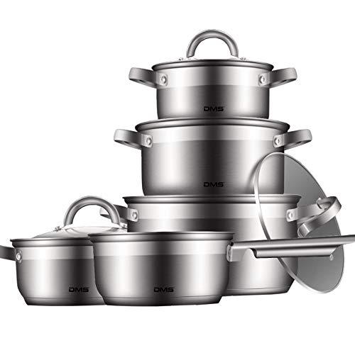 DMS 9-teiliges Topfset aus hochwertigem Edelstahl | Induktion | beschichtetes Kochset| Kochgeschirr | hochwertiges Küchenset | pflegeleicht | Stielkasserolle | Glas Deckel TSE2009C
