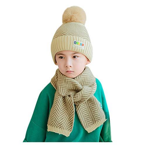 Baby Strickmütze und Schal Set gestreiften Pompon Hairball Cute Skull Cap Beanie dicken dehnbaren Winter warme Skimütze